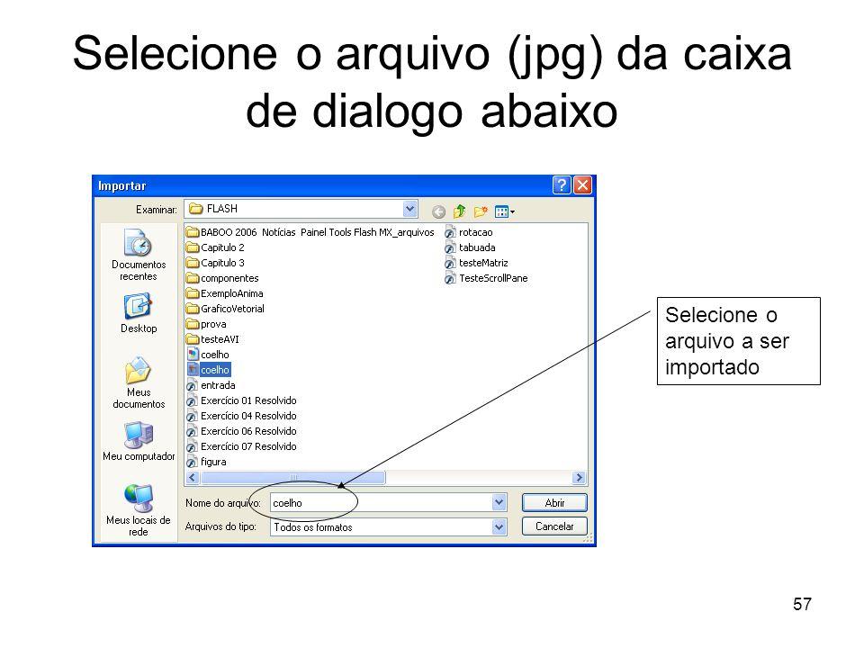 57 Selecione o arquivo (jpg) da caixa de dialogo abaixo Selecione o arquivo a ser importado