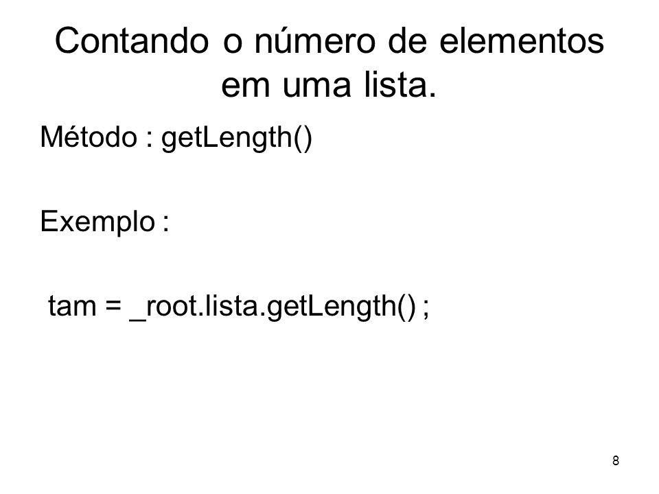8 Contando o número de elementos em uma lista.
