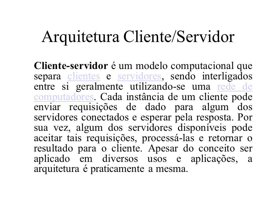 Arquitetura Cliente/Servidor Cliente-servidor é um modelo computacional que separa clientes e servidores, sendo interligados entre si geralmente utili