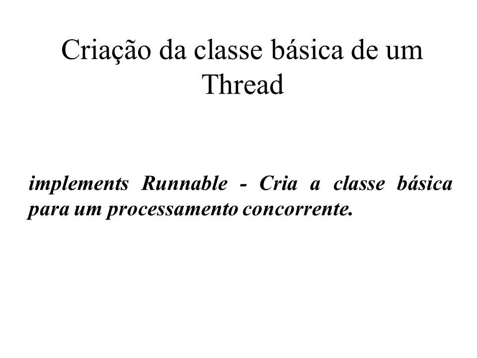 Classe: Runnable A interface Runnable deve ser implementada por qualquer classe cujas instâncias são destinados a ser executado por um Thread.