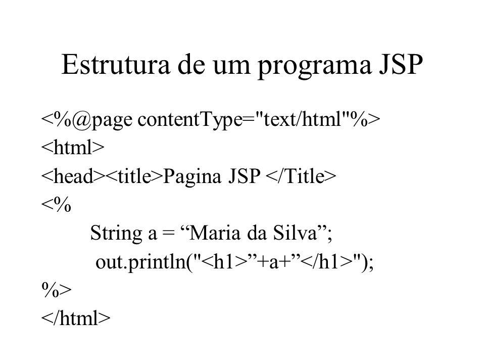 Estrutura de um programa JSP Pagina JSP <% String a = Maria da Silva; out.println(