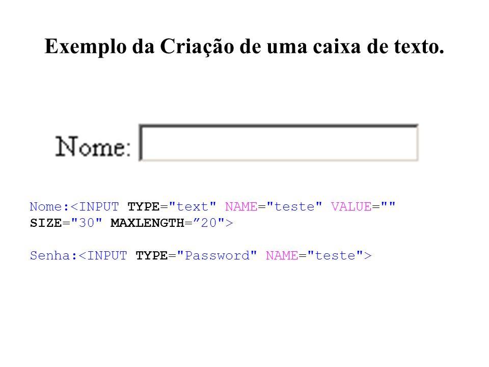 Exemplo da Criação de uma caixa de texto. Nome: Senha: