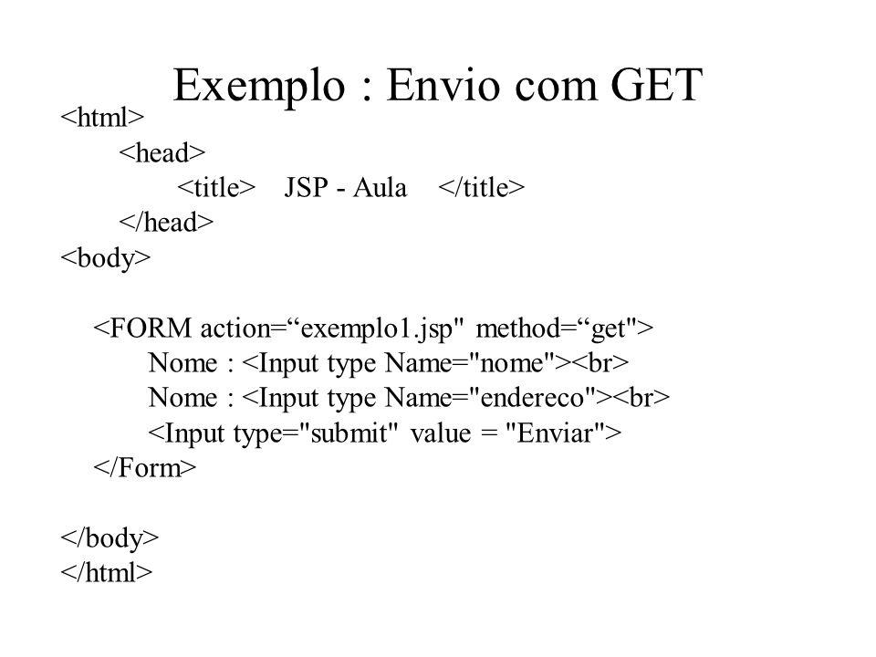 Exemplo : Envio com GET JSP - Aula Nome :