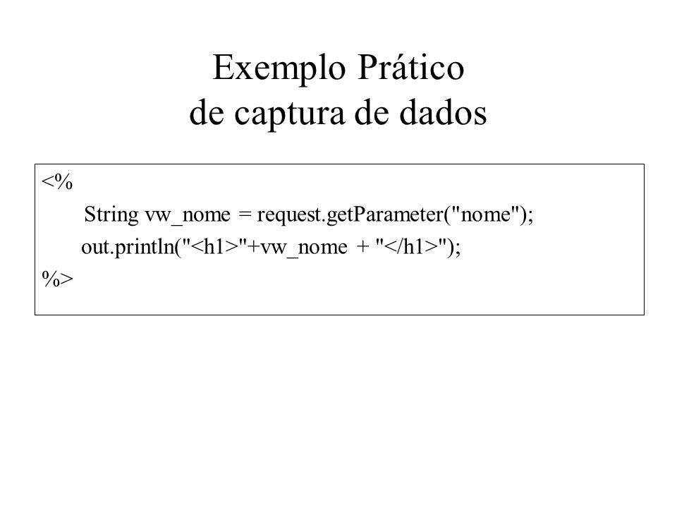 Exemplo Prático de captura de dados <% String vw_nome = request.getParameter(