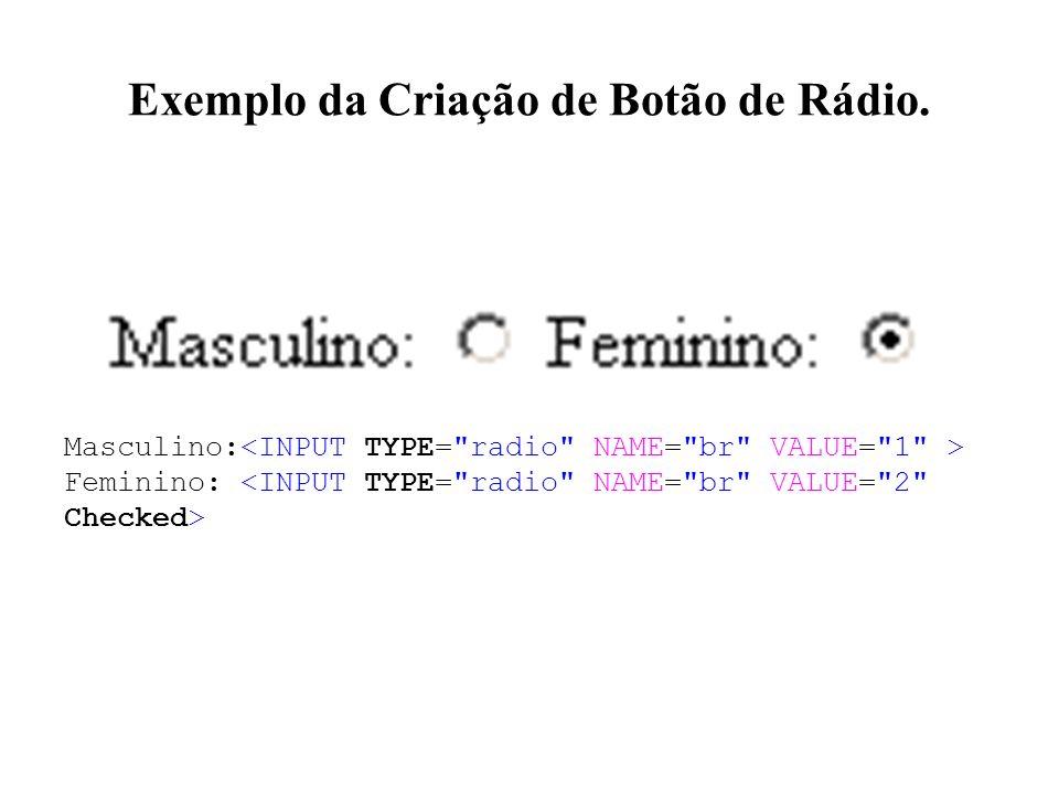 Exemplo da Criação de Botão de Rádio. Masculino: Feminino: