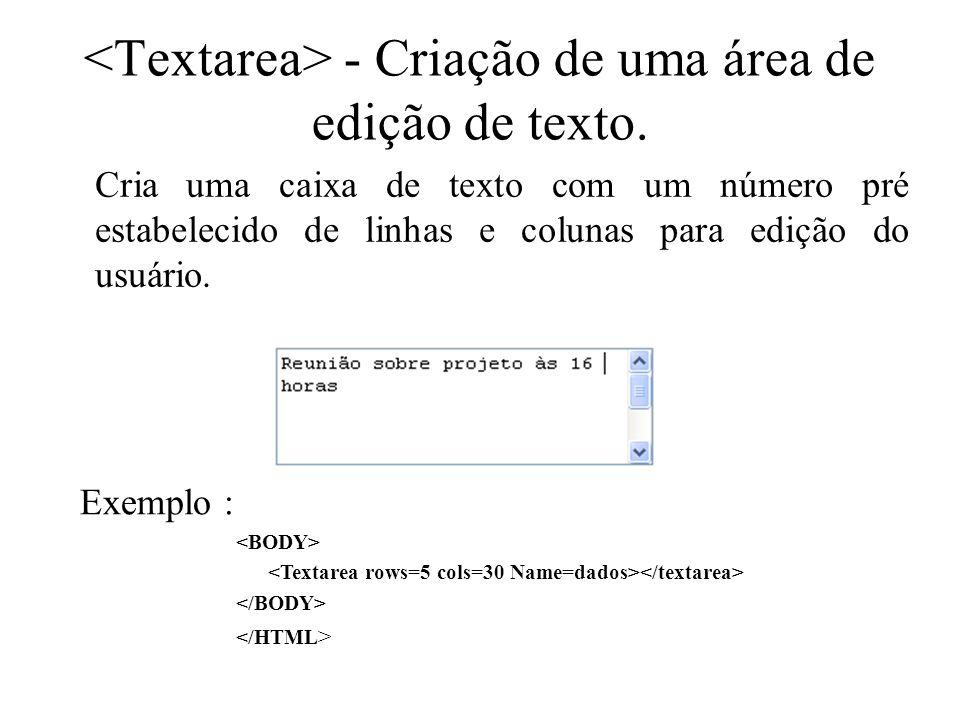 - Criação de uma área de edição de texto. Cria uma caixa de texto com um número pré estabelecido de linhas e colunas para edição do usuário. Exemplo :