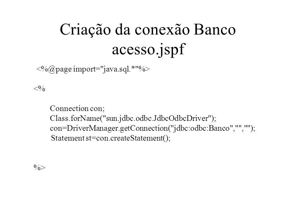 Criação da conexão Banco acesso.jspf <% Connection con; Class.forName(