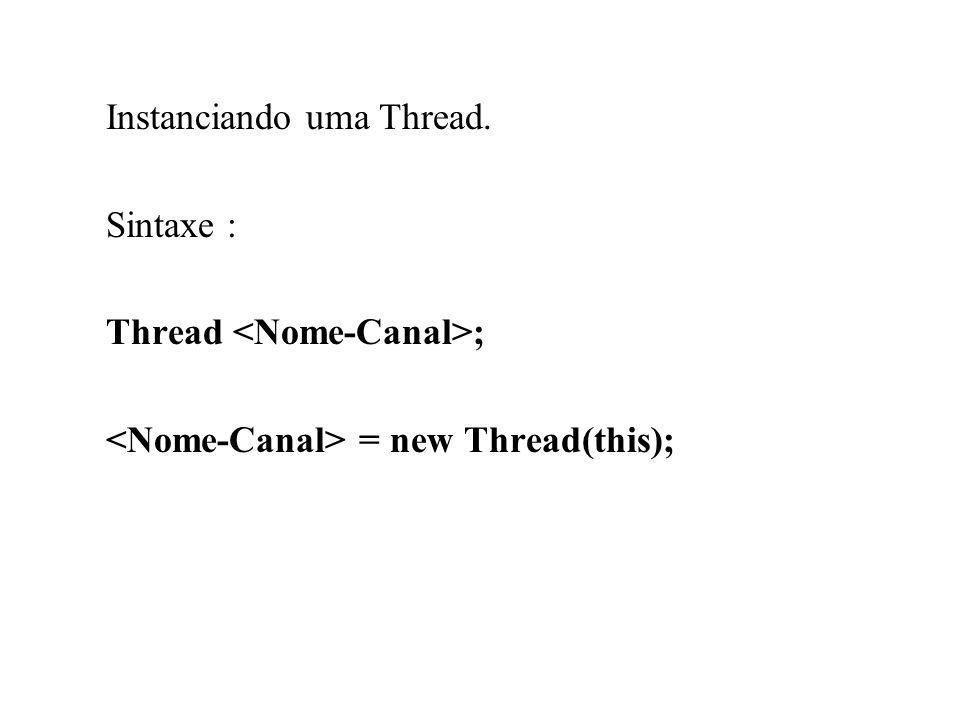 Uma Thread pode ter quatro estados: Que são dados pelos métodos start() : Dispara uma Thread suspend() - Permite uma pausa na Thread.