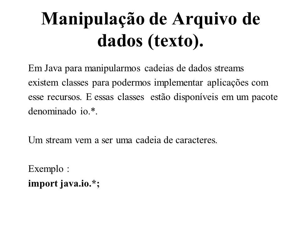 Manipulação de Arquivo de dados (texto). Em Java para manipularmos cadeias de dados streams existem classes para podermos implementar aplicações com e