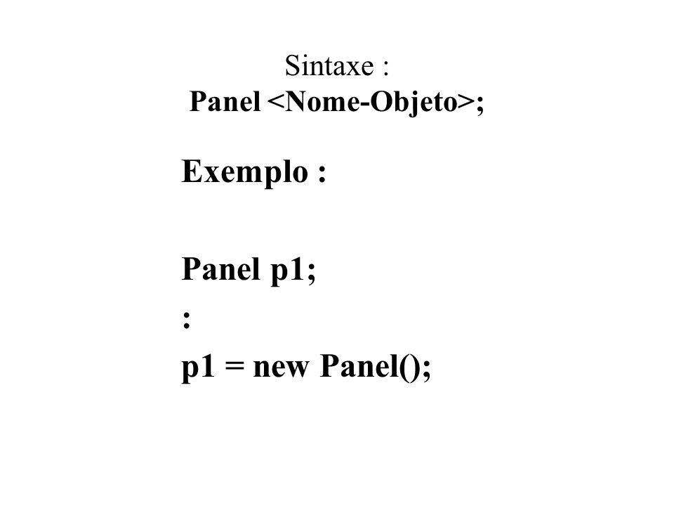 Sintaxe : Panel ; Exemplo : Panel p1; : p1 = new Panel();