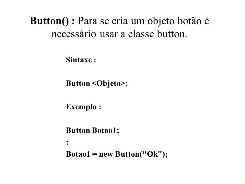 Button() : Para se cria um objeto botão é necessário usar a classe button. Sintaxe : Button ; Exemplo : Button Botao1; : Botao1 = new Button(
