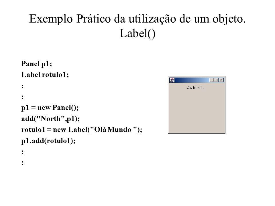 Exemplo Prático da utilização de um objeto. Label() Panel p1; Label rotulo1; : : p1 = new Panel(); add(