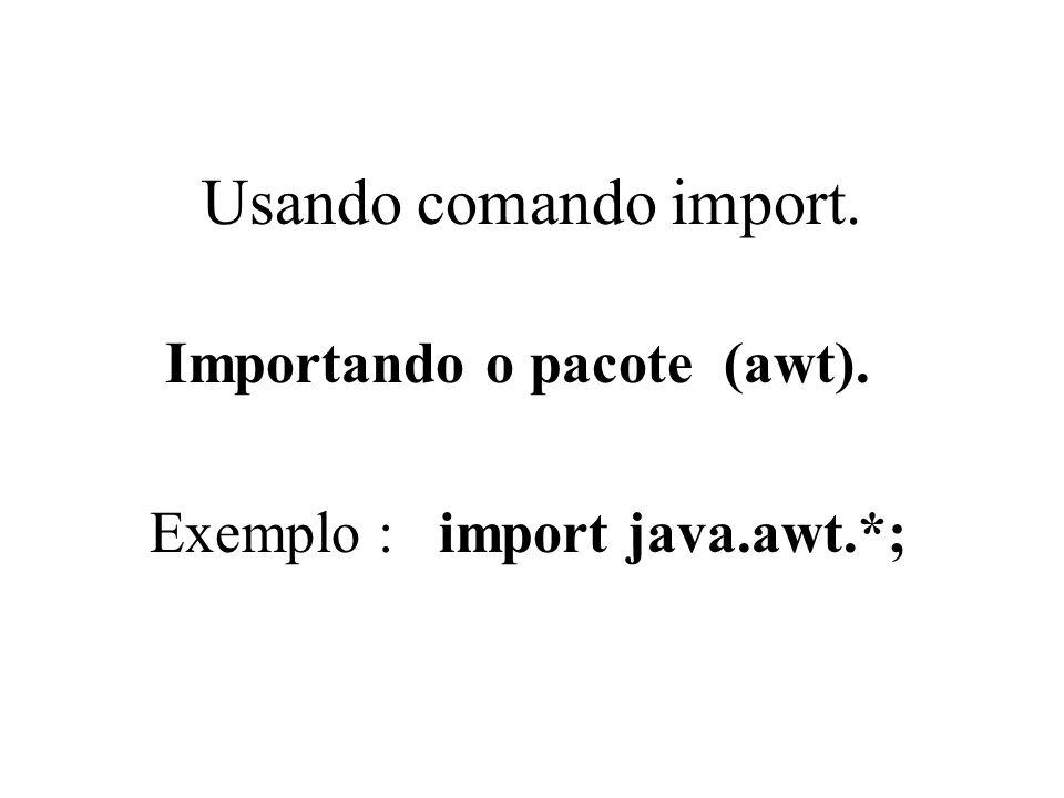 Usando comando import. Importando o pacote (awt). Exemplo : import java.awt.*;