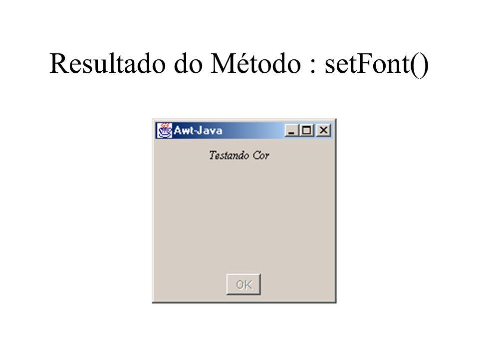 Resultado do Método : setFont()