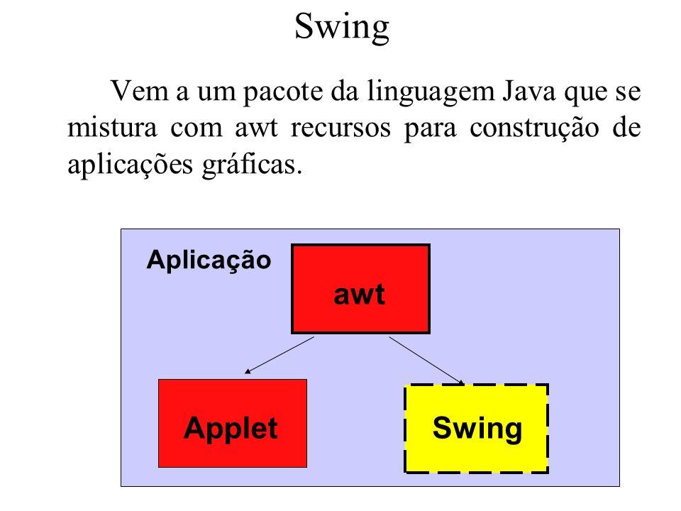Swing Vem a um pacote da linguagem Java que se mistura com awt recursos para construção de aplicações gráficas. awt SwingApplet Aplicação