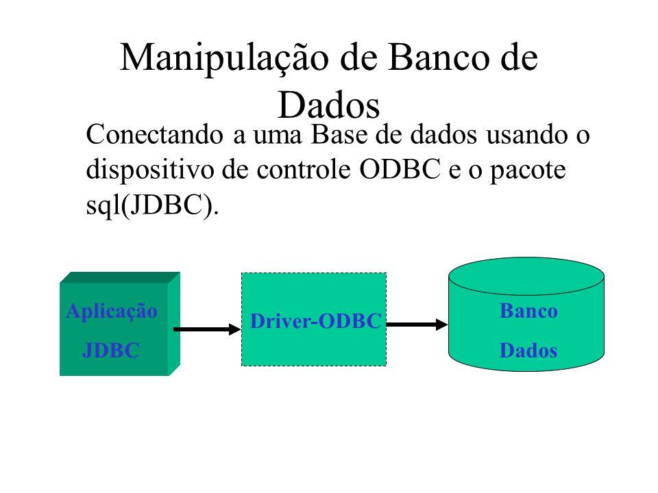 Manipulação de Banco de Dados Conectando a uma Base de dados usando o dispositivo de controle ODBC e o pacote sql(JDBC). Aplicação JDBC Driver-ODBC Ba