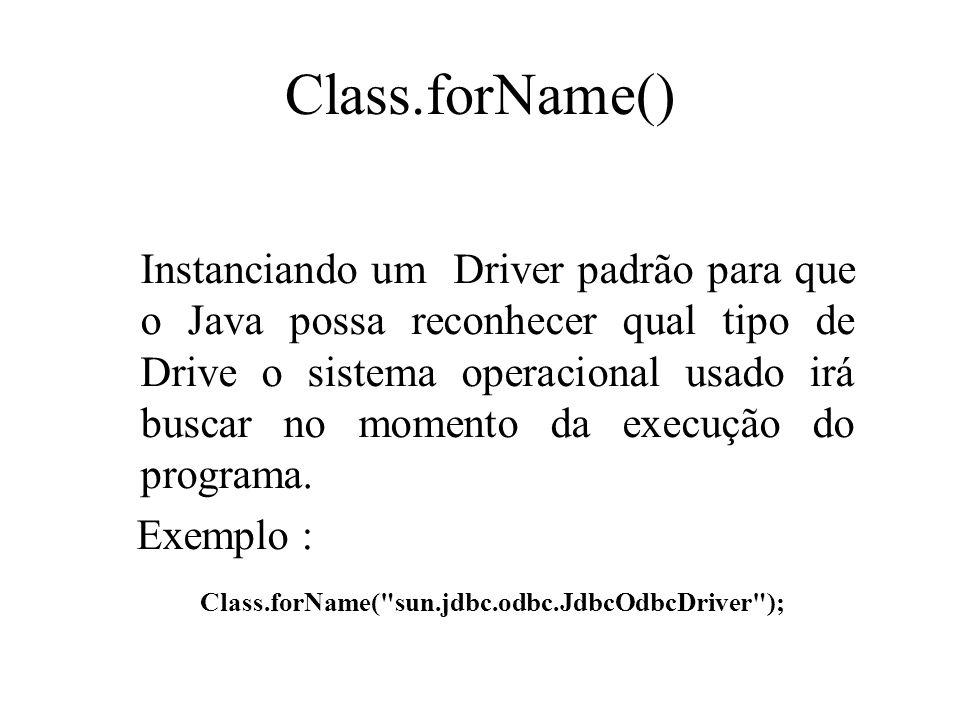Class.forName() Instanciando um Driver padrão para que o Java possa reconhecer qual tipo de Drive o sistema operacional usado irá buscar no momento da
