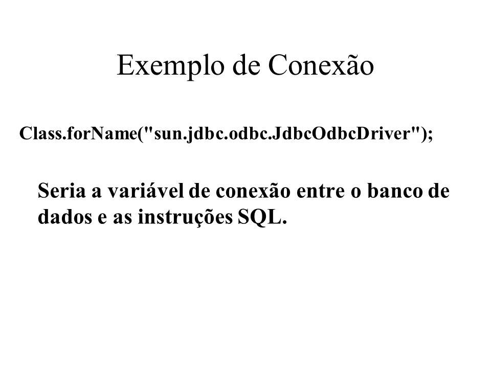 Exemplo de Conexão Class.forName(