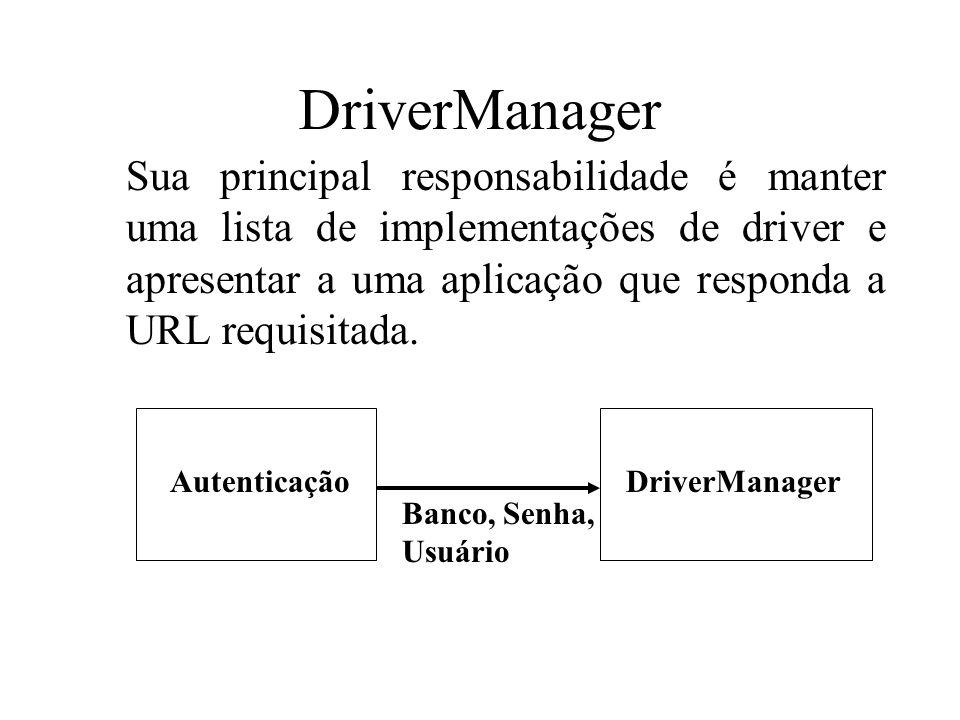 DriverManager Sua principal responsabilidade é manter uma lista de implementações de driver e apresentar a uma aplicação que responda a URL requisitad