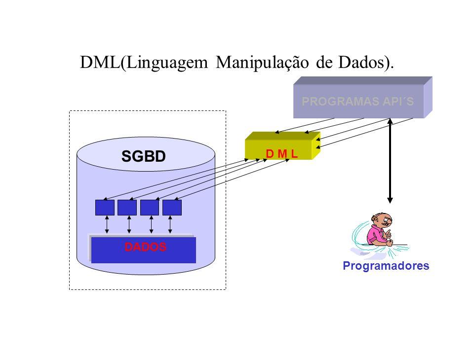 DML(Linguagem Manipulação de Dados). PROGRAMAS API´S DADOS D M L SGBD Programadores
