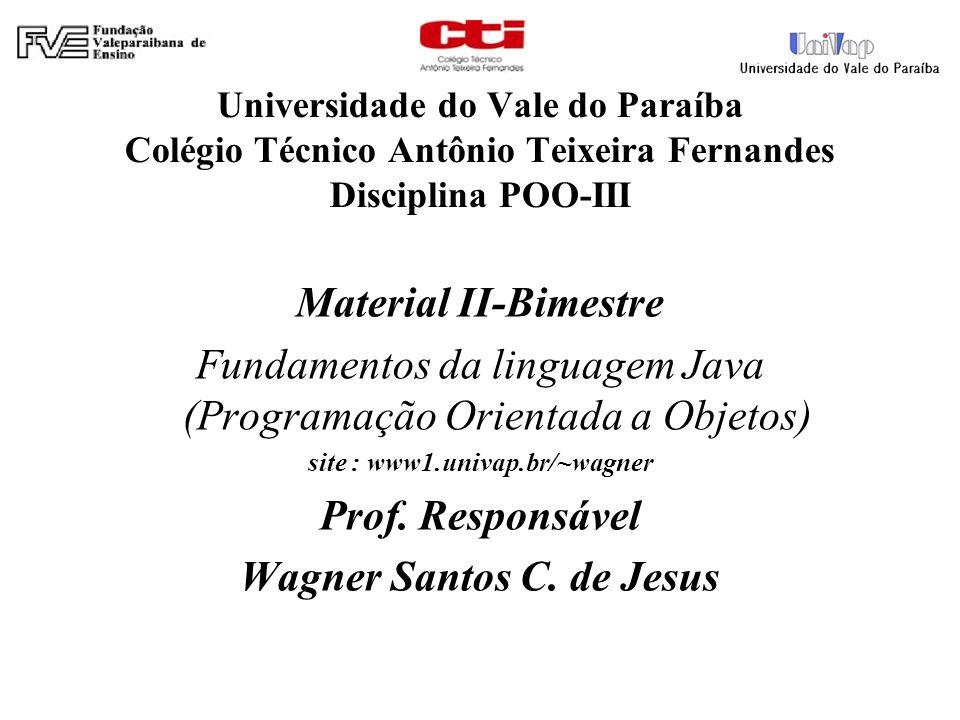 Universidade do Vale do Paraíba Colégio Técnico Antônio Teixeira Fernandes Disciplina POO-III Material II-Bimestre Fundamentos da linguagem Java (Prog