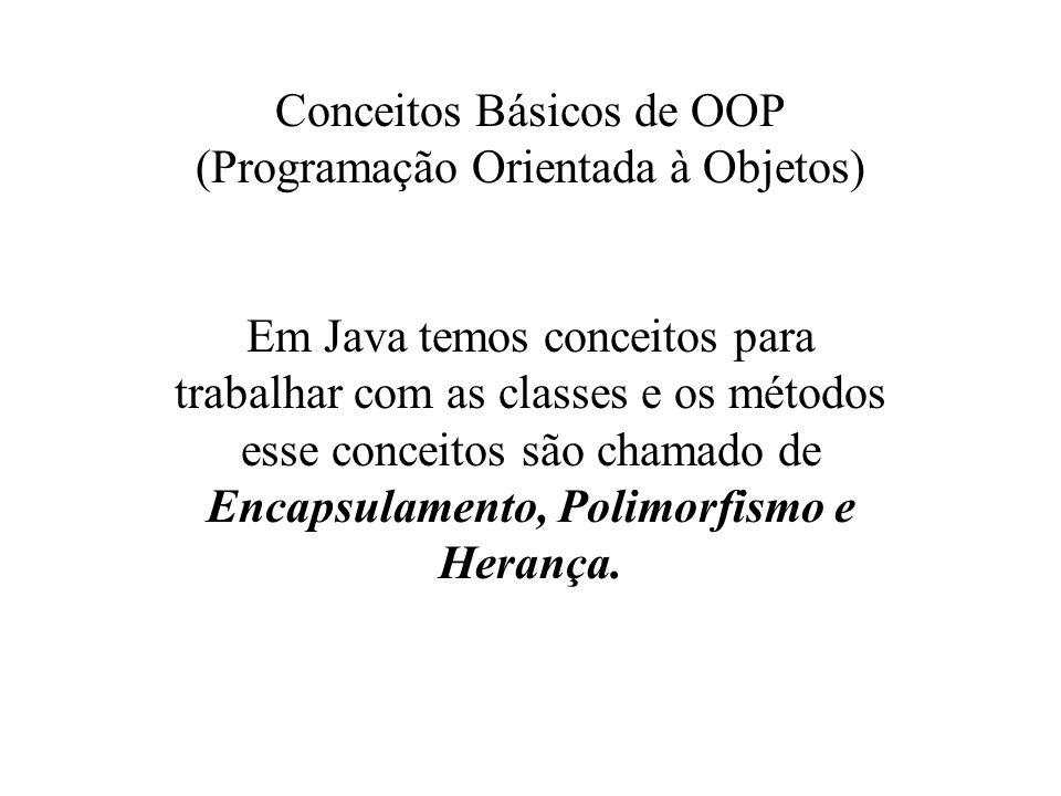 Conceitos Básicos de OOP (Programação Orientada à Objetos) Em Java temos conceitos para trabalhar com as classes e os métodos esse conceitos são chama