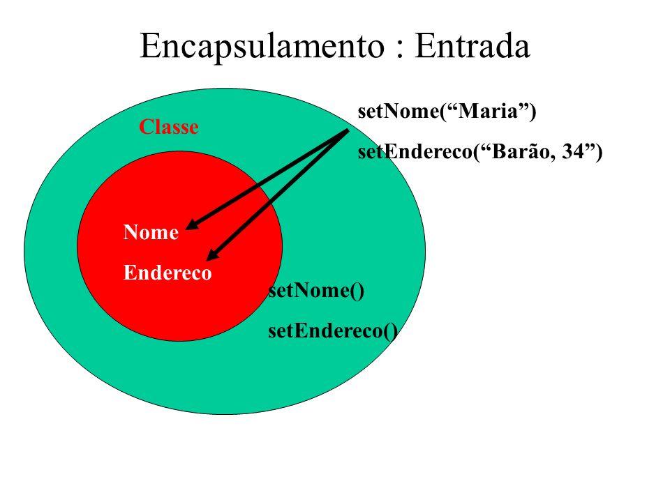 Encapsulamento : Entrada Nome Endereco Classe setNome(Maria) setEndereco(Barão, 34) setNome() setEndereco()
