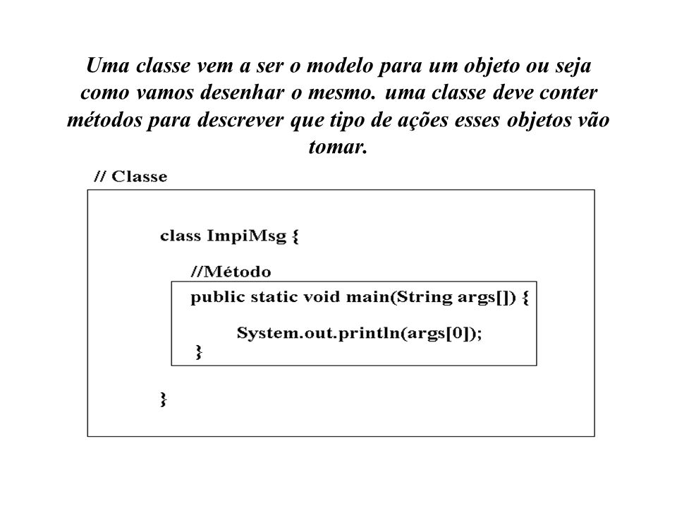 Uma classe vem a ser o modelo para um objeto ou seja como vamos desenhar o mesmo. uma classe deve conter métodos para descrever que tipo de ações esse
