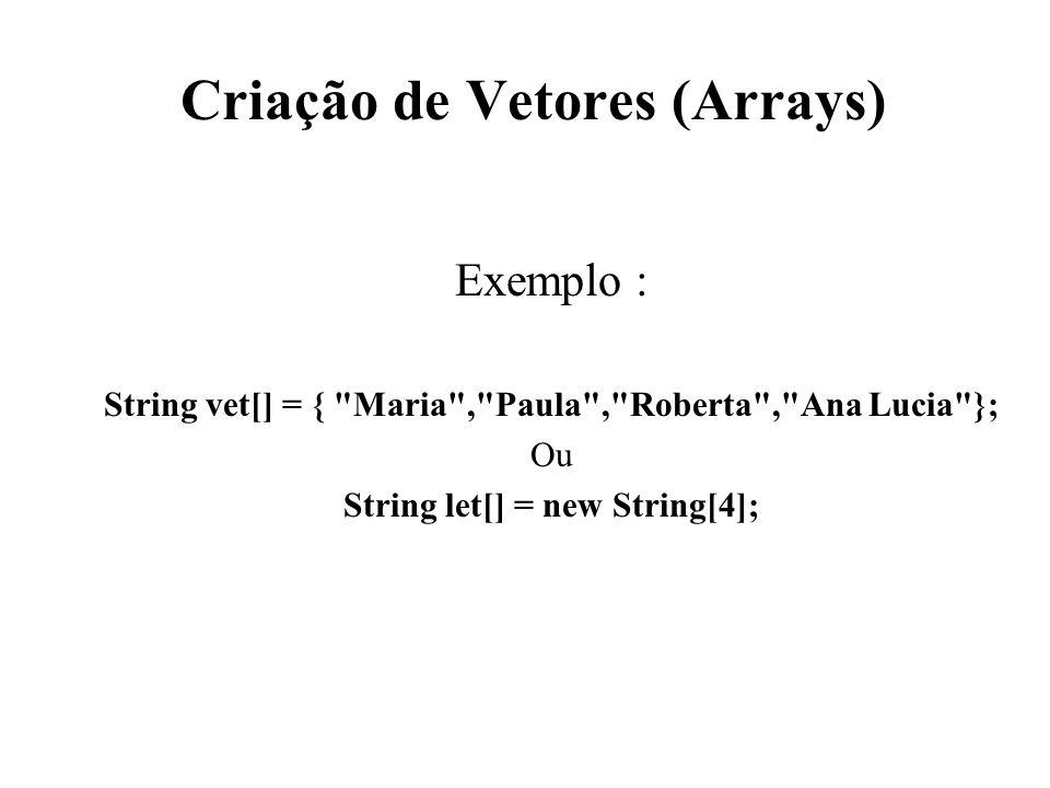 Criação de Vetores (Arrays) Exemplo : String vet[] = {