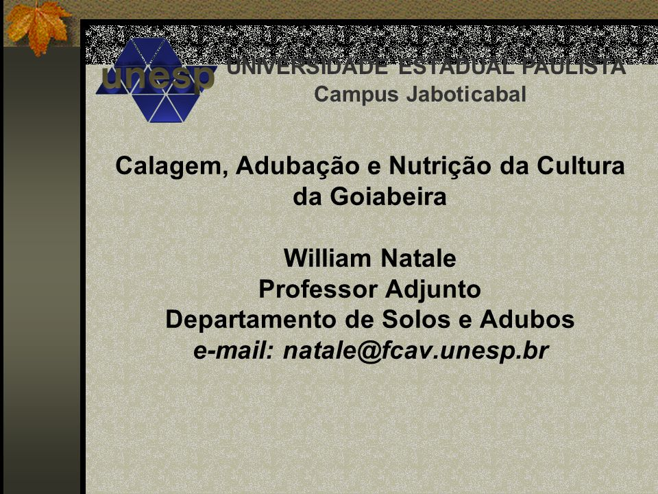Calagem, Adubação e Nutrição da Cultura da Goiabeira William Natale Professor Adjunto Departamento de Solos e Adubos e-mail: natale@fcav.unesp.br UNIV
