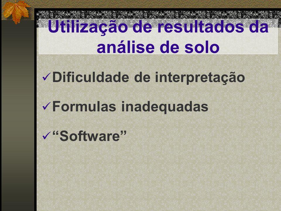 Utilização de resultados da análise de solo Dificuldade de interpretação Formulas inadequadas Software