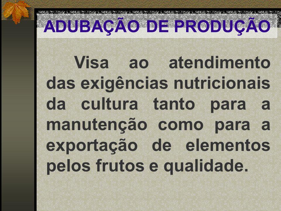 ADUBAÇÃO DE PRODUÇÃO Visa ao atendimento das exigências nutricionais da cultura tanto para a manutenção como para a exportação de elementos pelos frut