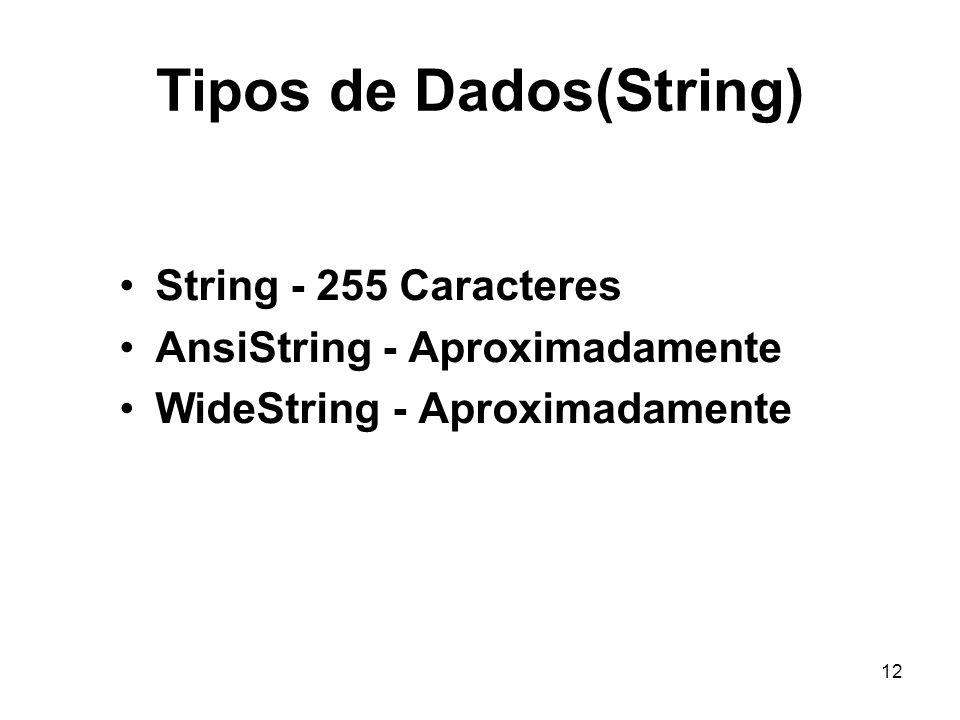 12 Tipos de Dados(String) String - 255 Caracteres AnsiString - Aproximadamente WideString - Aproximadamente