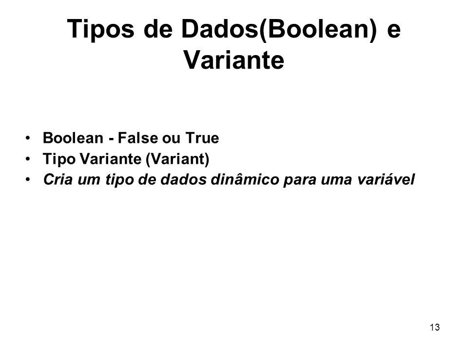 13 Tipos de Dados(Boolean) e Variante Boolean - False ou True Tipo Variante (Variant) Cria um tipo de dados dinâmico para uma variável