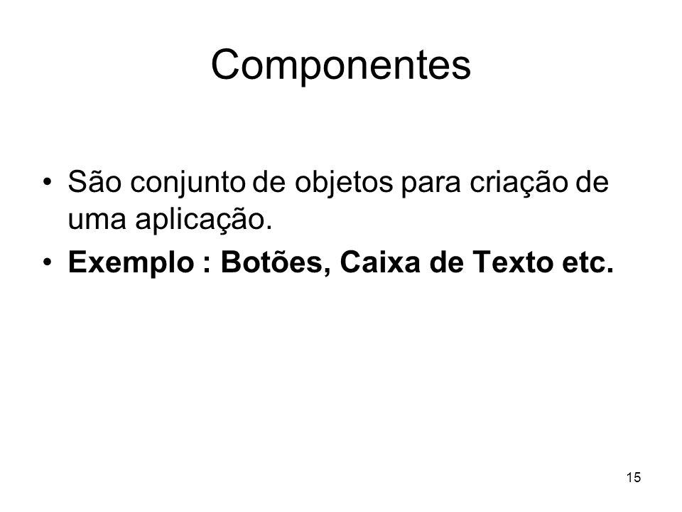 15 Componentes São conjunto de objetos para criação de uma aplicação. Exemplo : Botões, Caixa de Texto etc.