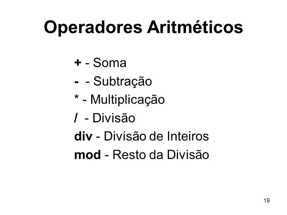19 Operadores Aritméticos + - Soma - - Subtração * - Multiplicação / - Divisão div - Divisão de Inteiros mod - Resto da Divisão