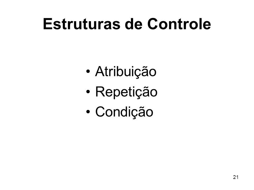 21 Estruturas de Controle Atribuição Repetição Condição