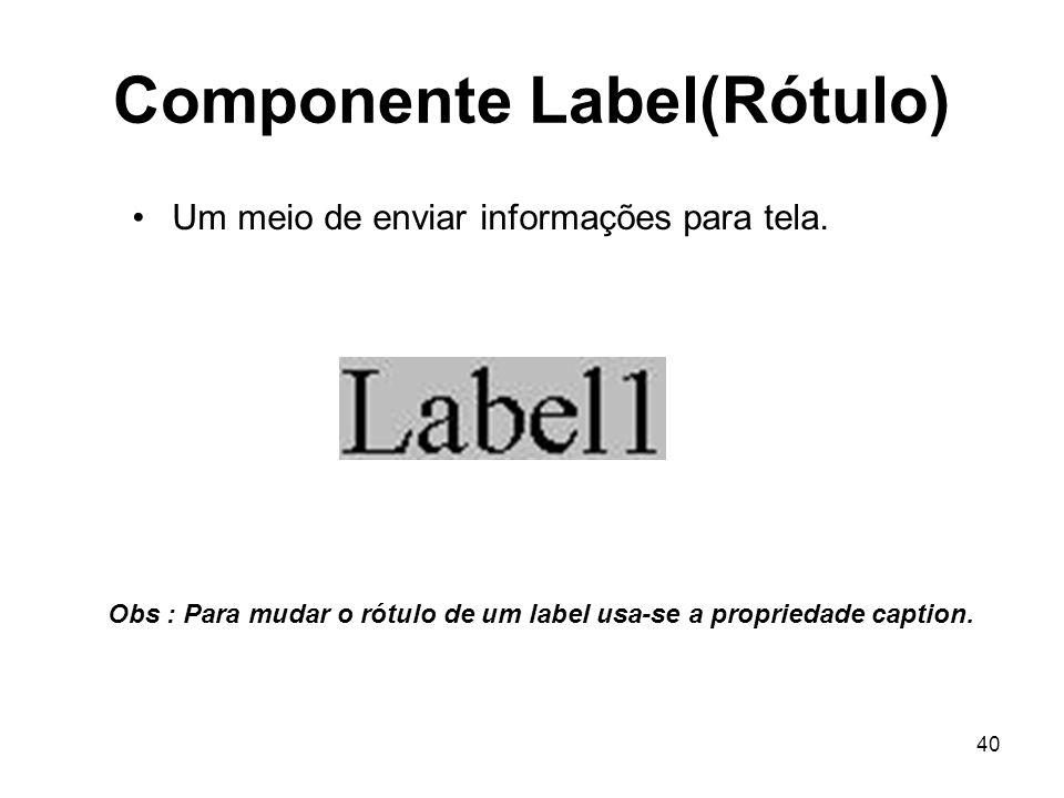 40 Componente Label(Rótulo) Um meio de enviar informações para tela. Obs : Para mudar o rótulo de um label usa-se a propriedade caption.