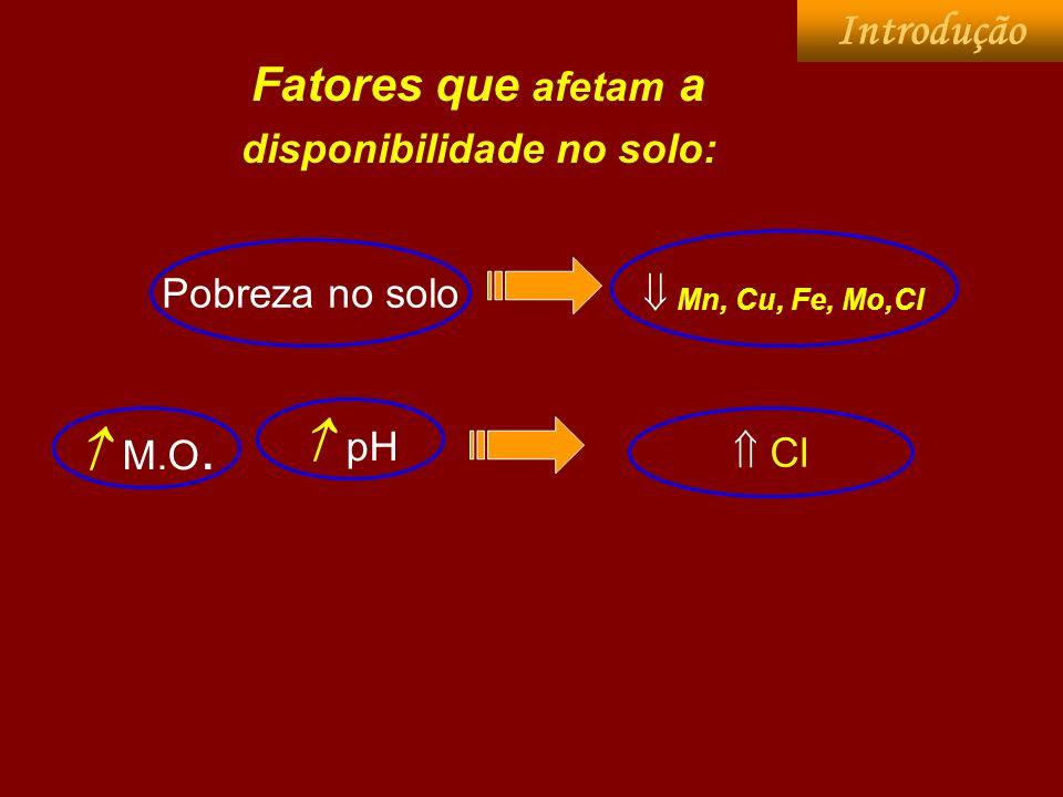 Mn, Cu, Fe, Mo,Cl Fatores que afetam a disponibilidade no solo: M.O. Pobreza no solo pH Cl Introdução