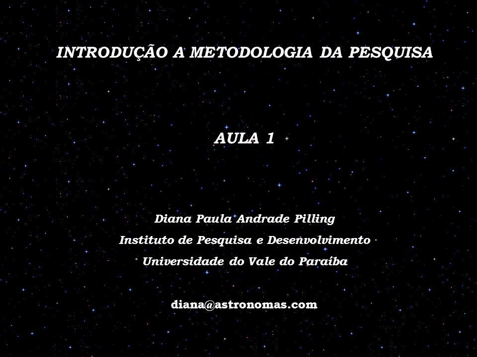 INTRODUÇÃO A METODOLOGIA DA PESQUISA AULA 1 Diana Paula Andrade Pilling Instituto de Pesquisa e Desenvolvimento Universidade do Vale do Paraíba diana@