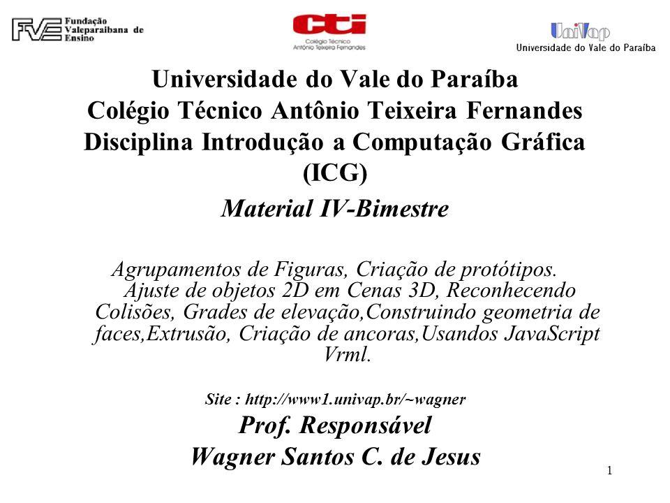 1 Universidade do Vale do Paraíba Colégio Técnico Antônio Teixeira Fernandes Disciplina Introdução a Computação Gráfica (ICG) Material IV-Bimestre Agr