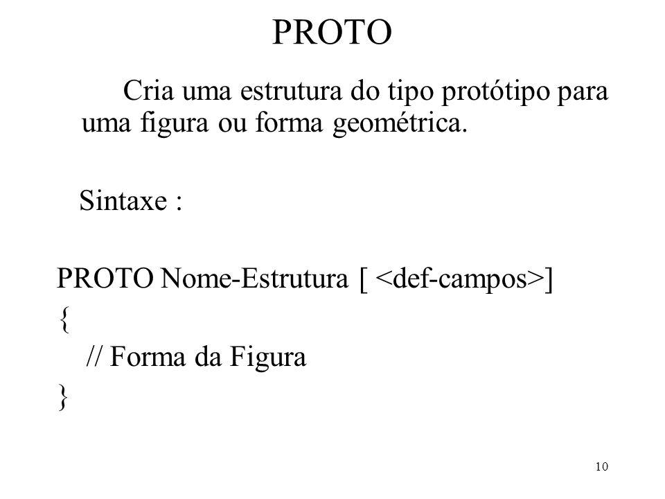 10 PROTO Cria uma estrutura do tipo protótipo para uma figura ou forma geométrica. Sintaxe : PROTO Nome-Estrutura [ ] { // Forma da Figura }