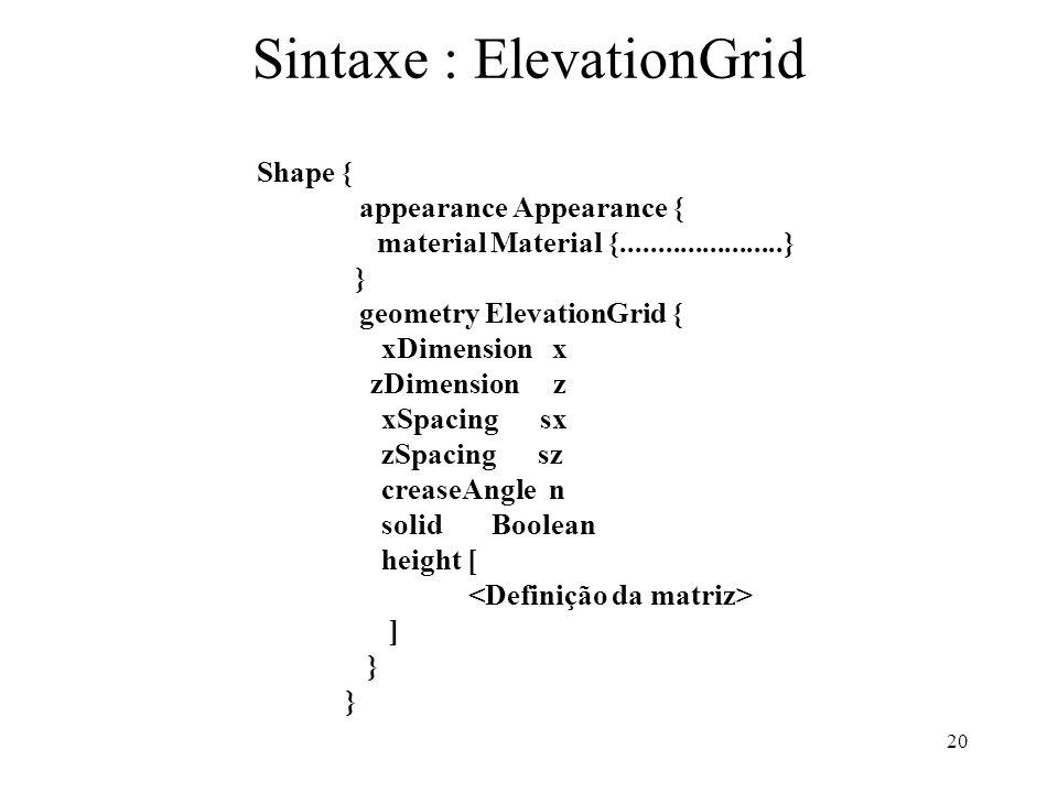 20 Sintaxe : ElevationGrid Shape { appearance Appearance { material Material {......................} } geometry ElevationGrid { xDimension x zDimensi