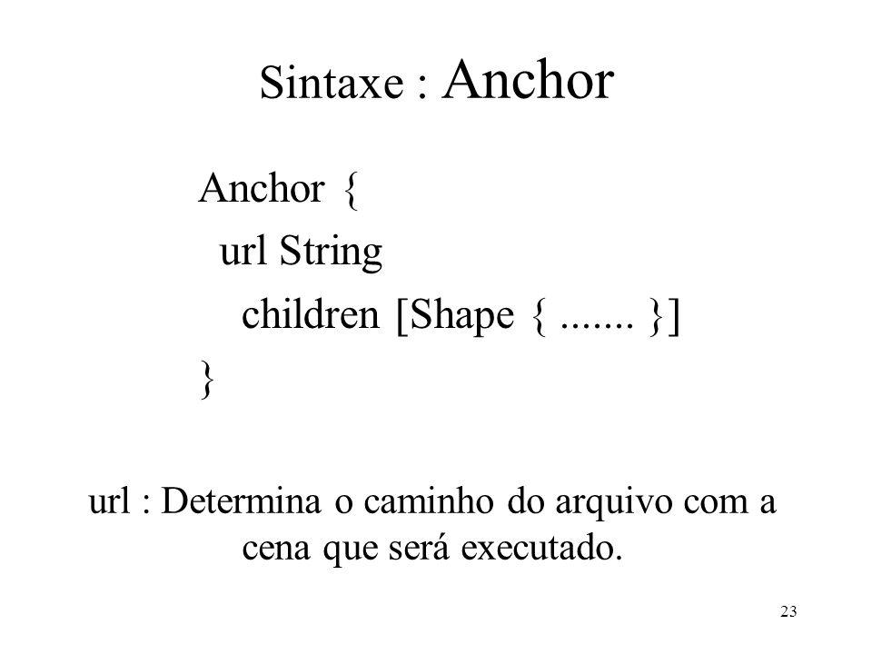 23 Sintaxe : Anchor Anchor { url String children [Shape {....... }] } url : Determina o caminho do arquivo com a cena que será executado.