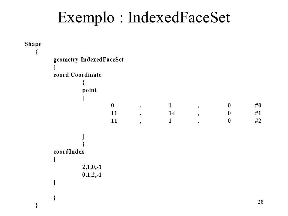 28 Exemplo : IndexedFaceSet Shape { geometry IndexedFaceSet { coord Coordinate { point [ 0,1, 0#0 11,14, 0#1 11,1, 0#2 ] } coordIndex [ 2,1,0,-1 0,1,2
