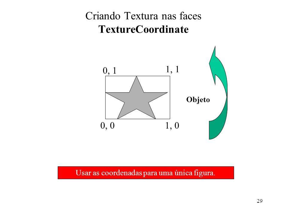 29 Criando Textura nas faces TextureCoordinate Objeto 0, 01, 0 0, 1 1, 1 Usar as coordenadas para uma única figura.