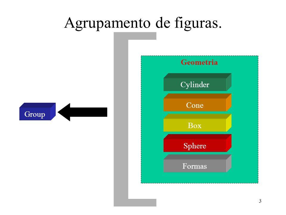 3 Geometria Agrupamento de figuras. Group Cylinder Cone Box Sphere [ Formas