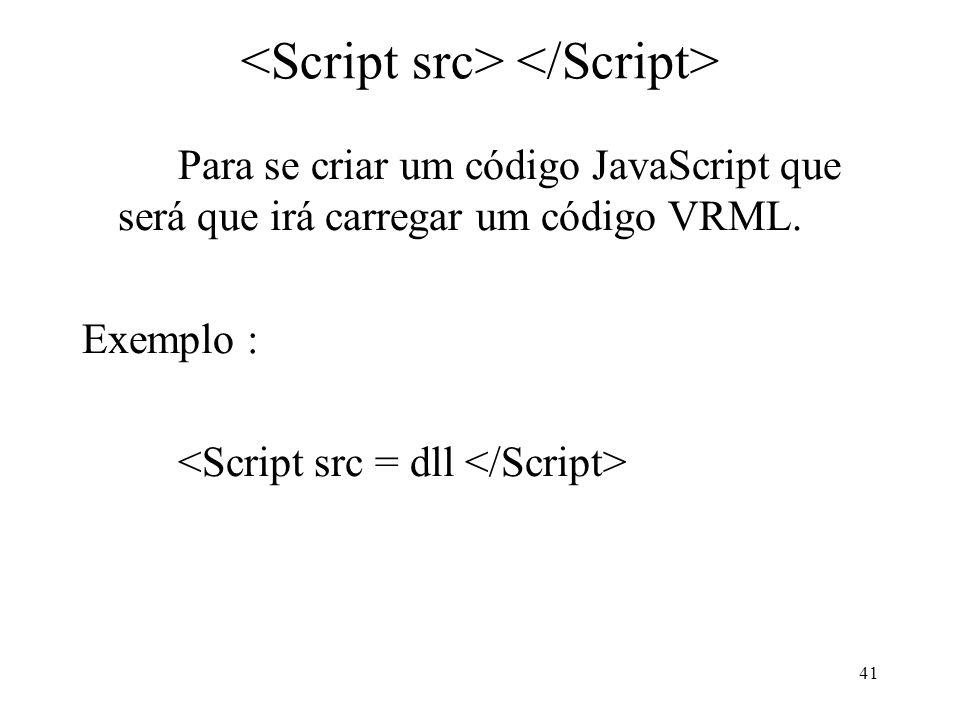 41 Para se criar um código JavaScript que será que irá carregar um código VRML. Exemplo :