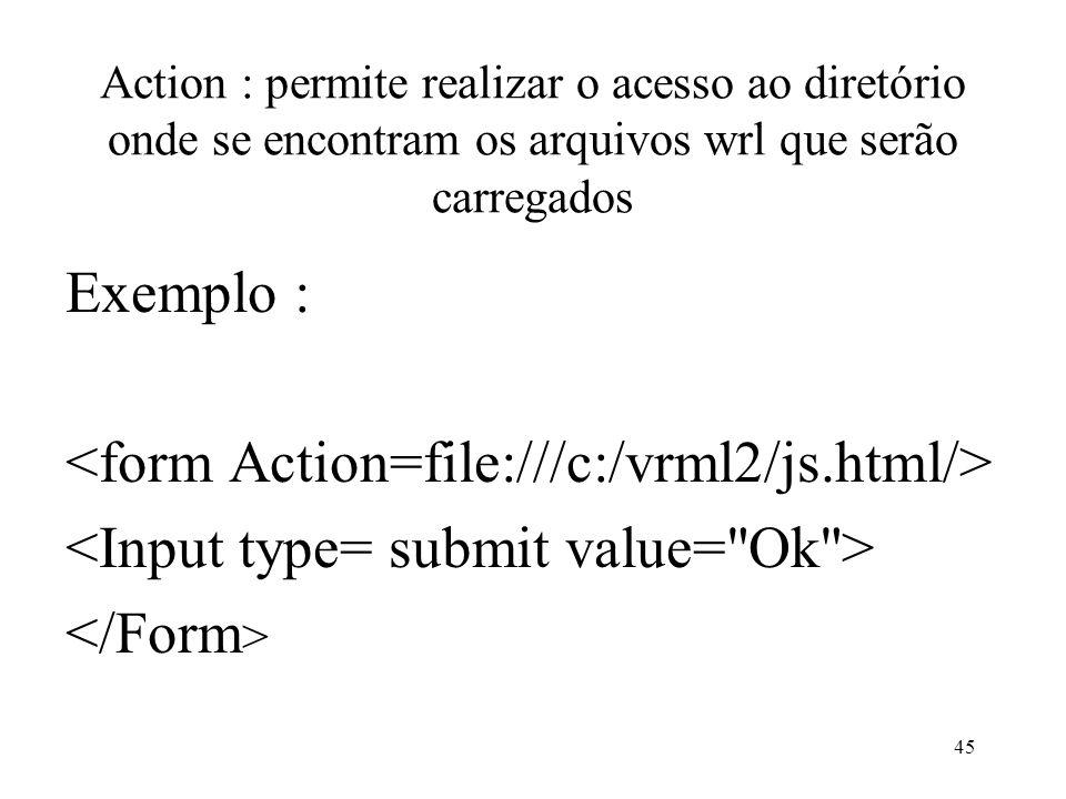 45 Action : permite realizar o acesso ao diretório onde se encontram os arquivos wrl que serão carregados Exemplo :