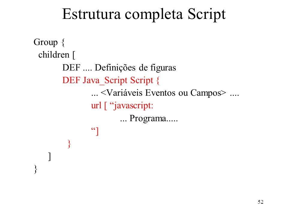 52 Estrutura completa Script Group { children [ DEF.... Definições de figuras DEF Java_Script Script {....... url [ javascript:... Programa..... ] } ]